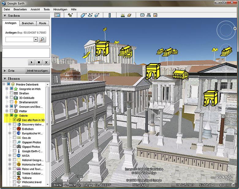 Blick vom Forum Romanum in Google Earth