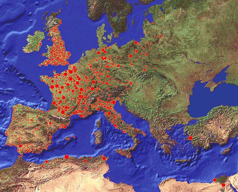 Karte mit 7711 Pest-Ausbrüchen