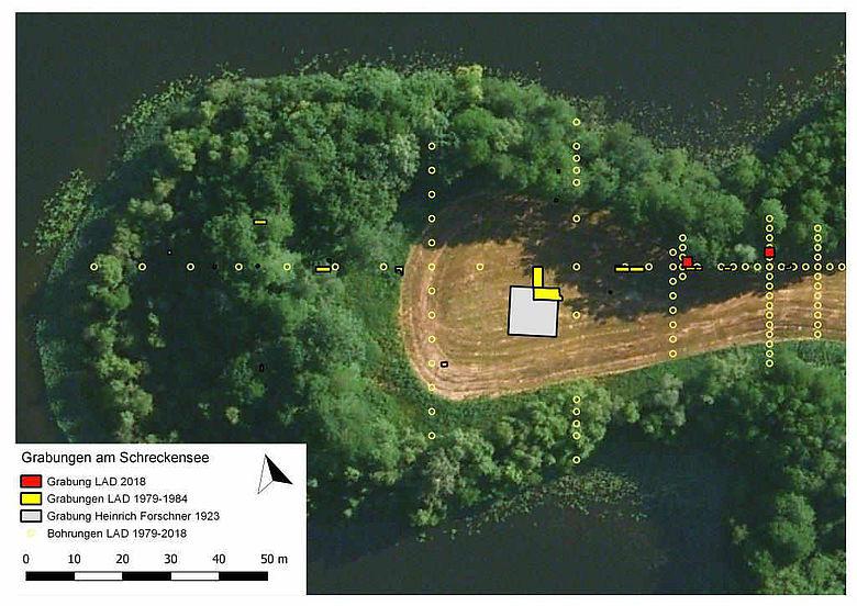 Plan der Ausgrabungen am Schreckensee