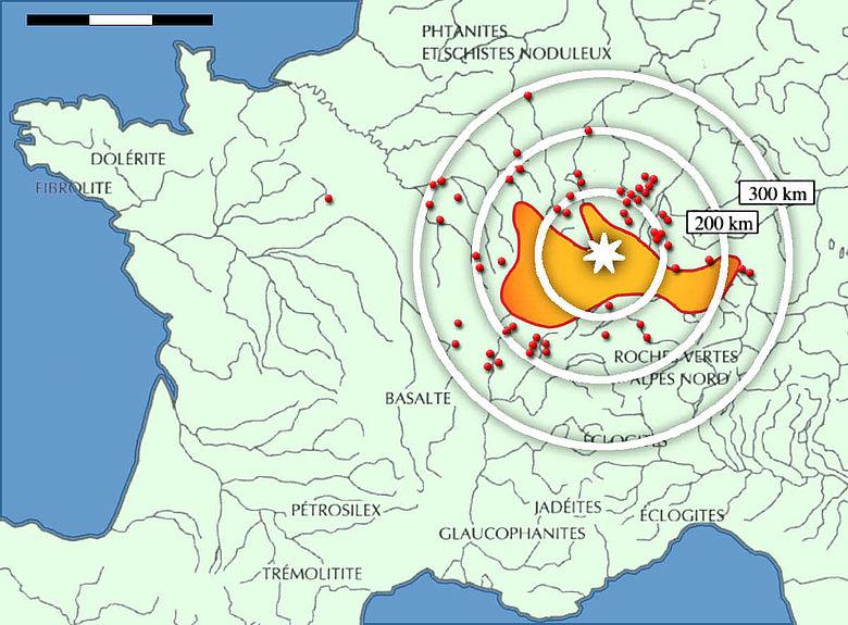 Verbreitungskarte der Beile von Plancher-les-Mines