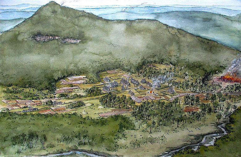 Zeichnung einer bronzezeitlichen Siedlung im Hegau