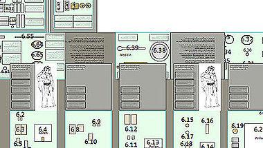 Station 6: Eine Aufsicht auf die Station 6 »Tracht und Schmuck der Frauen«. Zu erkennen sind die geöffneten Klappen auf der einen und die ausgezogenen Schubladen auf der anderen Seite der Station. Mit freundlicher Genehmigung der Bertron.Schwarz.Frey GmbH Gruppe für Gestaltung.