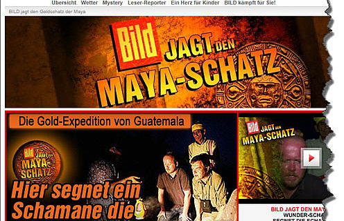 Ausriss aus der Bild.de Website zur Schatzjagd-Aktion
