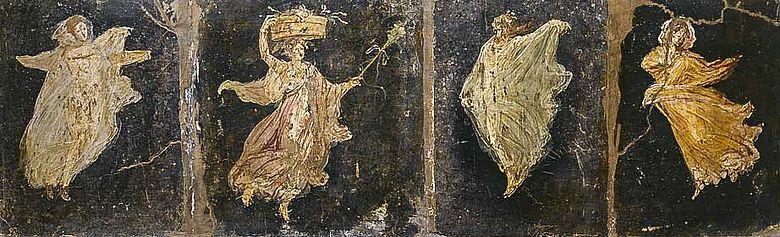 Abb. 5a| Die schwebenden Tänzerinnen aus der Villa di Cicerone, Pompeji. Der Zyklus besteht aus insgesamt 12 Figuren © Fotografica Foglia, Neapel