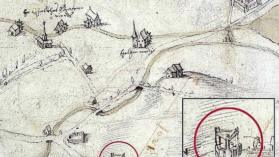 """Ein Plan des Gebietes Holligen/Inselareal um 1620. Deutlich ist auf der Zeichnung der Galgen des Hochgerichtes """"obenaus"""" mit seinen drei Steinpfeilern zu erkennen (Kreis). Genau so muss der Galgen auf dem Schönberg ausgesehen haben. (Staatsarchiv Bern)"""