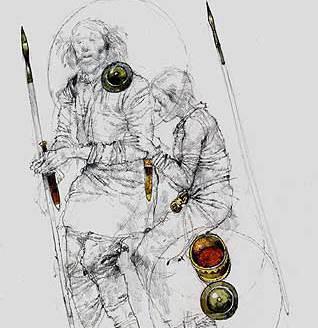 Zeichnerische Rekonstruktion der Bestattung mit der Lage der Funde. (Zeichnung: English Heritage)