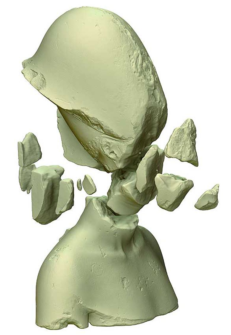 Die Einzelteile der Echnaton-Büste als Computermodell © TU Berlin/3D Labor/Brych