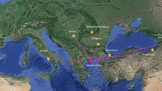 Karte Stiftungstätigkeit Berg Athos