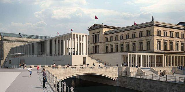 Simulation der zukünftigen Museumsinsel Berlin mit der James-Simon-Galerie