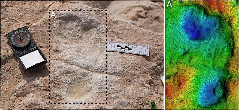 Der erste am Alathar-See entdeckte menschliche Fußabdruck und das dazugehörige digitale Höhenmodell
