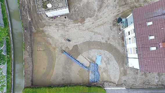 Luftbild der Ausgrabung in Vöhringen