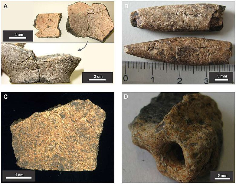 Fundmaterial aus den Untersuchungen der Siedlungshügel: A - Keramik, B - Knochenwerkzeuge, C - Schädelfragment, D - gebrannte Erde (Abb.: CC doi:10.1371/journal.pone.0072746.g005)