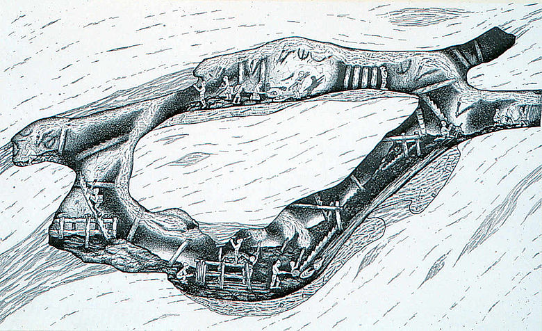 Zeichnung: Rekonstruktion bronzezeitlicher Bergbau