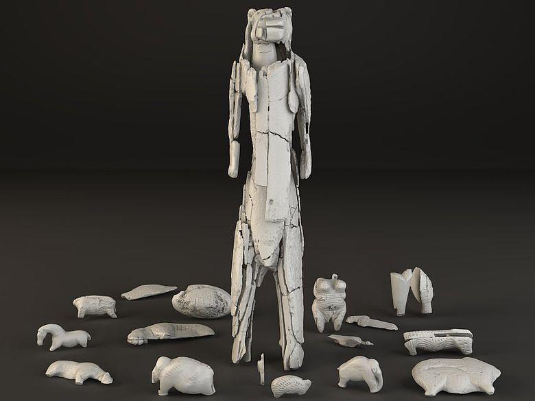 Verschiedene Figuren aus den Höhlen der Schwäbischen Alb