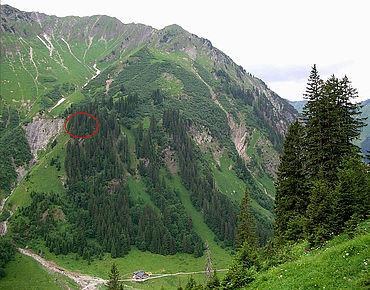 Blick auf die Fundstelle am »Feuerstein« im Gemsteltal/Kleinwalsertal (Foto: A. Binsteiner)