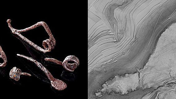 Rechts: Keltische Eisenfunde; links: Digitales Geländemodell des Rosenstein-Plateaus