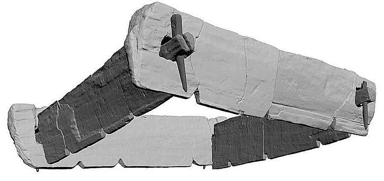 Laserscanaufnahme des Basisrahmens mit Eckverbindungen in Form eines Zapfenschlosses (Quelle: Sächsisches Landesamt für Archäologie, Dresden)