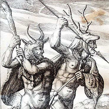 Germanische Krieger als Naturmenschen. Aus: Philipp Clüver: Germania antiqua libri tres. Leiden 1631 (Lippische Landesbibliothek)