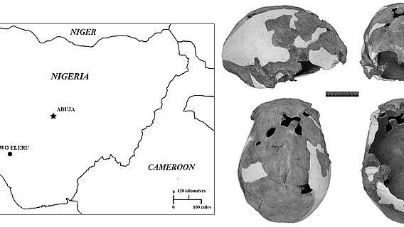 Karte von Nigeria mit dem Fundort Iwo Eleru und den beiden dort gefundenen Schädeln (doi:10.1371/journal.pone.0024024.g001; CC-BY)