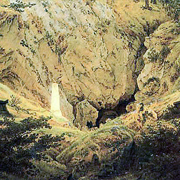 Caspar David Friedrich: Gräber gefallener Freiheitskrieger (Grabmale alter Helden), 1812. Öl/Lw. 49,3x69,8 cm. (Hamburger Kunsthalle)