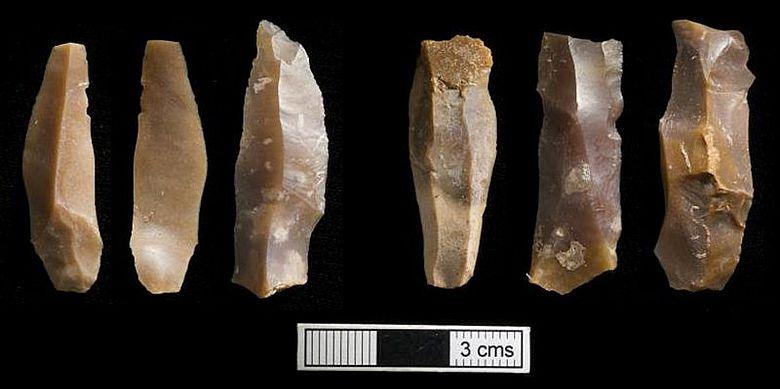 Charakteristische miniaturisierte Steinwerkzeuge