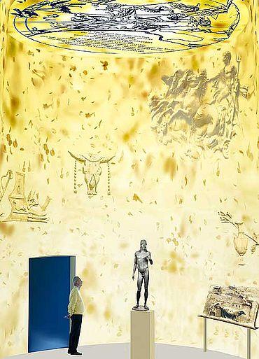 Die virtuelle Ansicht von der Rotunde »Goldenes Zeitalter« in der Sonderausstellung »Imperium« des Römermuseums Haltern. (Grafik: Jochen Hähnel)