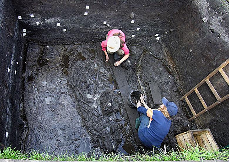 Archäologen legen im polnischen Bruszczewo alte Siedlungsspuren frei. Daran lässt sich die gegenseitige Abhängigkeit von Mensch und Landschaft untersuchen. (Foto: Jutta Kneisel, © CAU