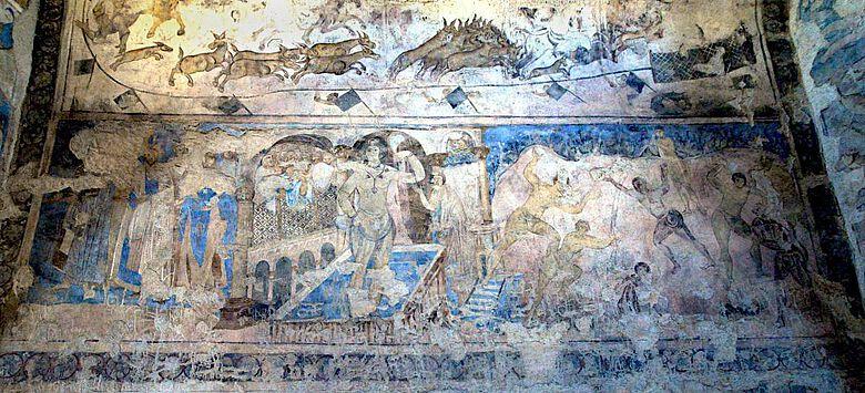 Badende, Wandmalerei im Qusair `Amra, Jordanien