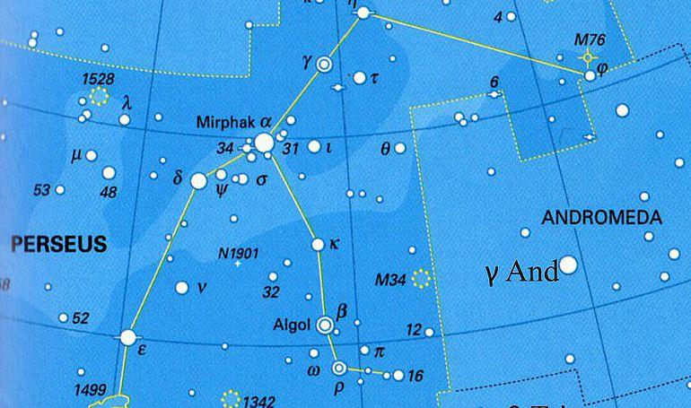 Abb. 8| Moderne Karte des Sternbildes Perseus mit y And und ß Tri. Bearbeitung: Kurzmann nach Ridpath, Tirion