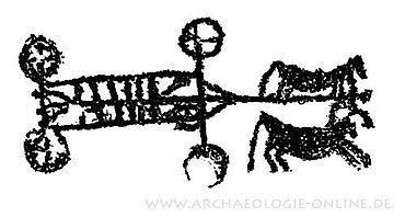 Vierrädriger Wagen mit zwei Zugpferden (Naquane, Valcamonica, Oberitalien, 8. bis 6. Jh. v. Chr.) (Bild: Landesmuseum Oldenburg)