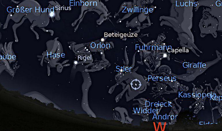 Abb. 7| Der Sternenhimmel am 1. Januar -2500 (2501 v. Chr.) für Bugibba in west-östlicher Richtung mit den Sternbildern Stier, Plejaden und Perseus. Die Plejaden sind ein sehr kleines Bild; das Programm hat ihren hellsten Stern, Alkyone, markiert. Links
