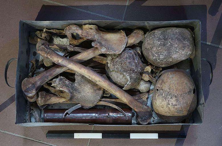 Die Schädel und Knochen befanden sich in einer bleiernen Kapsel