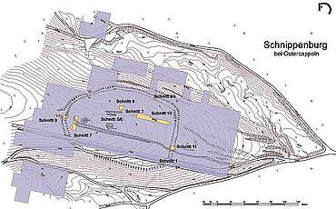 Lage der Prospektionsflächen und Grabungsschnitte auf der Schnippenburg. (Karte: S. Möllers, Stadt- und Kreisarchäologie Osnabrück)