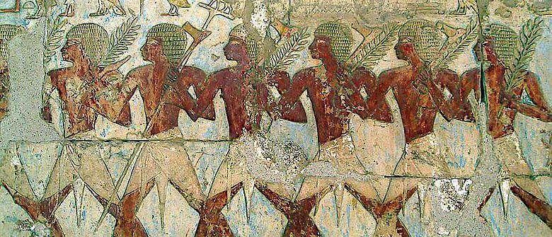 Mitglieder der Handelsexpedition in das Land Punt. Darstellung im Totentempel der Hatschepsut (Foto von Σταύρος, CC BY 2.0)