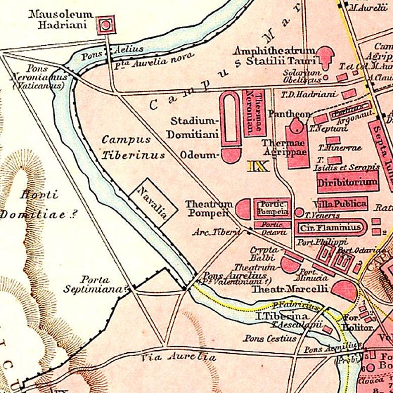 Lage der Hafenanlagen (s. »Navalia«) im antiken Rom. Ausschnitt aus G. Droysens Allgemeiner Historischer Handatlas von 1886