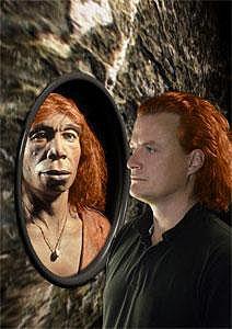 Rothaariger Neandertaler und moderner Mensch