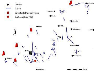 Abb. 1| Blei-Zink-Erzgänge der Briloner Hochfläche, Siedlungsplätze der römischen Kaiserzeit und Barrenfundstellen (Entwurf und Zeichnung M. Straßburger)