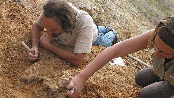 Prof. Madelaine Böhme (rechts) und Geologe Philipe Havlik bei Grabungsarbeiten nahe der bulgarischen Stadt Chirpan (Foto: Prof. Madelaine Böhme)
