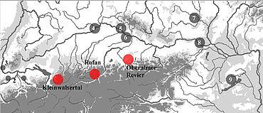 Die neuen Radiolarit- und Hornsteinvorkommen in den Nördlichen Kalkalpen im Fokus weiterer Silexlagerstätten im alpinen Raum und im Einzugsgebiet der Donau und des Rheins. 1 Mt.Lessini-Mt.Baldo Region; 2 Olten, Otenfingen-Lägern; 3 Kleinkems; 4 Donau-Altmühl Region; 5 Donaurandbruch; 6 Ortenburger Jura; 7 Krumlovský Les; 8 Wien-Mauer; 9 Bakony Berge (Grafik: A. Binsteiner)