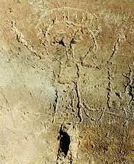 Eingeritzte Darstellung von Johannes dem Täufer, mit seinen Symbolen. (Foto: U. W. Sahm)