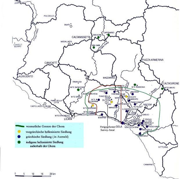 Gela und sein Hinterland. (Karte: Bochumer Gela-Survey)