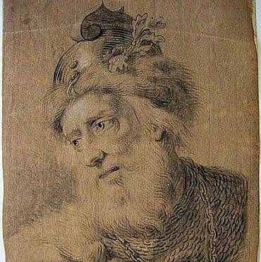 J. H. Tischbein: Siegmar, Hermanns Vater. 1750. Zeichnung, schwarze Kreide, weiß gehöht, auf farbigem Papier. (Privatbesitz)