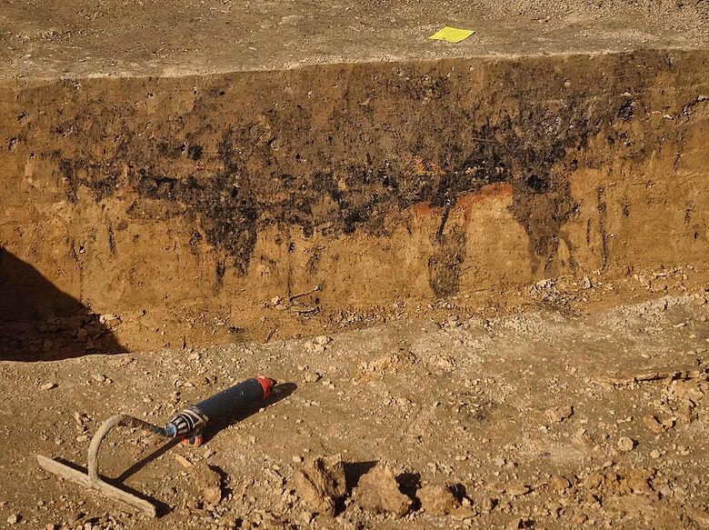 Grube mit Brandlehm und Holzkohle (Profil)