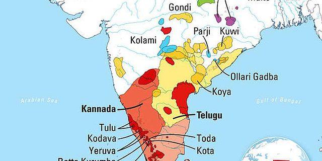 Karte der dravidischen Sprachen in Indien, Pakistan, Afghanistan und Nepal