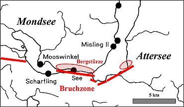 Abb. 8. Vorgeschichtliche Bergstürze am Mondsee und am Attersee, OÖ und Salzburg (Grafik: Alexander Binsteiner)