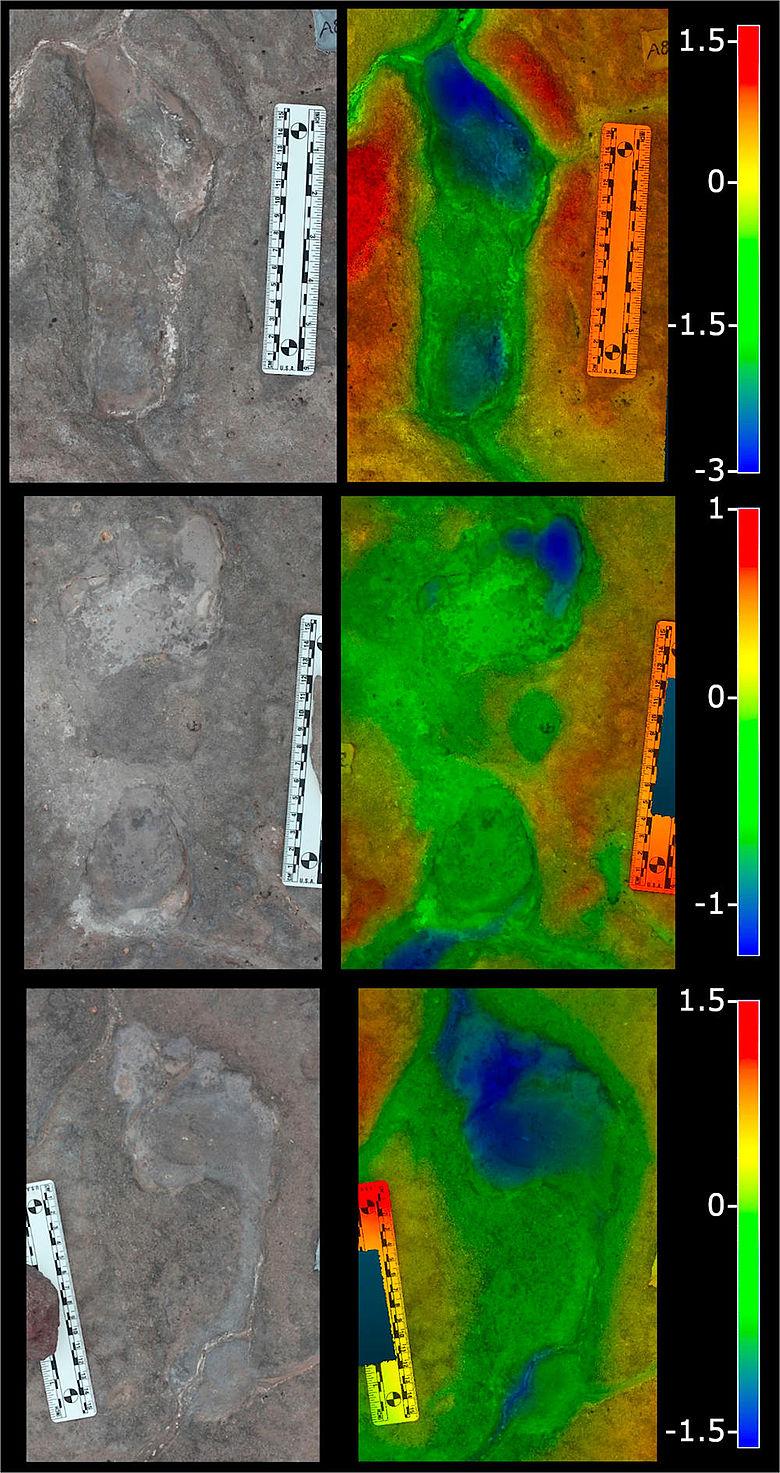 Menschliche Fußabdrücke in Vulkanasche