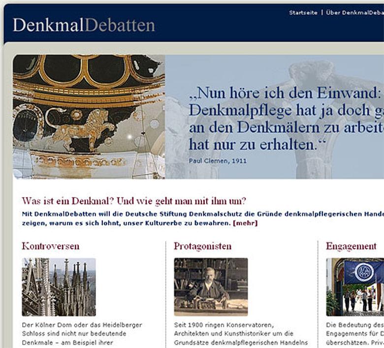 Denkmaldebatten Homepage