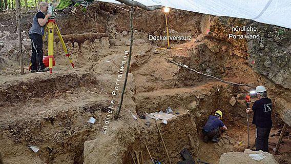 Die Ausgrabungen im verstürzten Eingangsbereich der Höhle im Jahr 2019