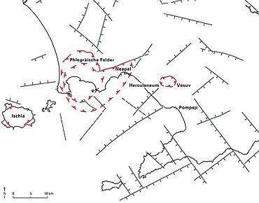 Abb. 3| Karte Kampaniens mit den geologischen Störungen und Kratern © G. Orsi u.a., aus: Facing volcanic and related hazards in the Neapolitan area, 2003