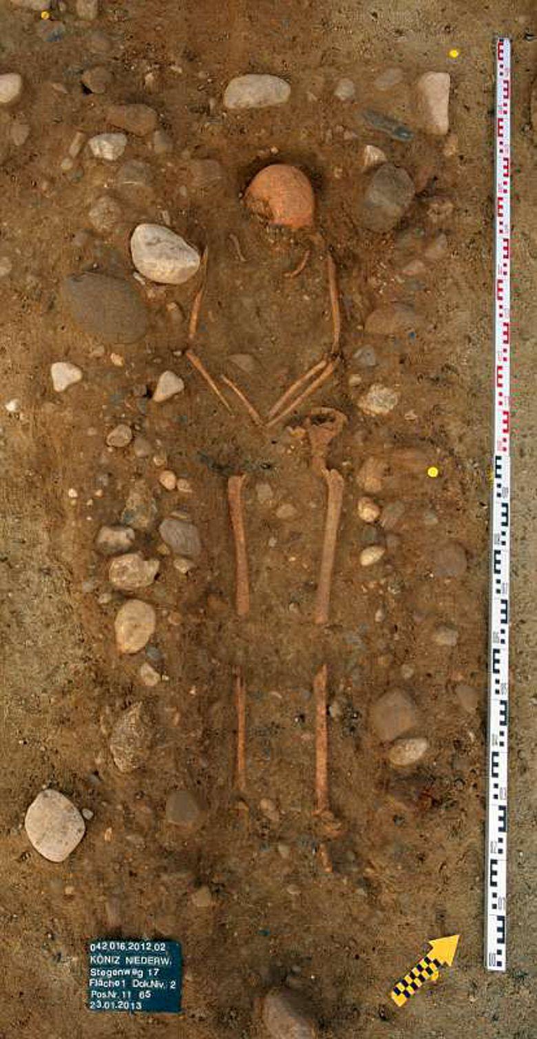 Die Toten wurden in der Regel in Rückenlage bestattet. (Foto: Kanton BE)
